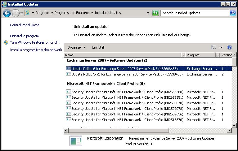 exchange server versions