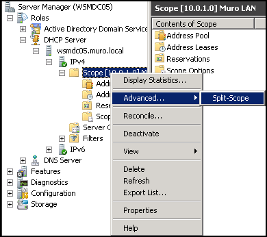 Using the DHCP Split-Scope Wizard on Server 2008 R2